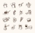 Foodstuffs set of vector sketches on a white background Royalty Free Stock Photo