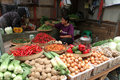 Foodstuffs various sold in a traditional market in sragen central java indonesia Stock Images