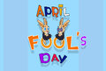 Fool Day Crazy Rabbit Couple April Holiday Greeting Card Banner