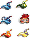 Fool's cap and mask - icons Stock Images