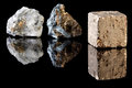 Fool s gold chalcopyrite and pyrite in uncut rough state two minerals often confused with pyrite is therefore called Stock Photos