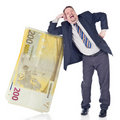 Foolish banker trusting euro Royalty Free Stock Photo
