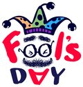 Fools day clown text greeting card isolated