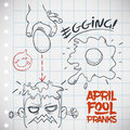 Fools day egging prank in doodle style vector illustration mischievous of throwing eggs to people april Royalty Free Stock Image