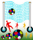 Foot ball and net Stock Image