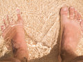 Foot on the beach bare sand Stock Photos
