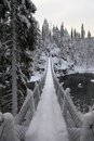 Foot bridge oulanka national park finland winter hike in Royalty Free Stock Images