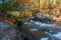 Foot bridge over rapids, Wiskonsin, USA Royalty Free Stock Photo