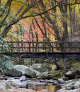 Foot Bridge over rocky stream in the Smoky Mountains Royalty Free Stock Photo