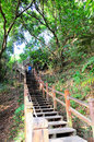 Foot bridge up to top the mountain taiwan Royalty Free Stock Photography