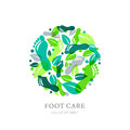 Foot care logo, label or emblem design elements. Sole, footprint and green leaves in circle shape.