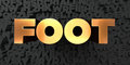 Foot - Gold text on black background - 3D rendered royalty free stock picture