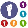 Foot left leg icons set