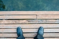 Foot and legs seen from above selfie Stock Image