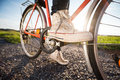 Foot on pedal Royalty Free Stock Photo