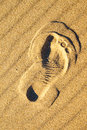 Foot print in sand on a beach Royalty Free Stock Photo
