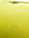 Foot prints on sand minimal Royalty Free Stock Image