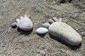 Foot prints of stones on beach Lesvos Royalty Free Stock Photo