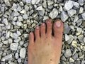 Foot with sand and stone Stock Photography