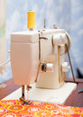 Foot sewing machine and fabric closeup of the Royalty Free Stock Photography
