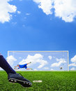 Foot shooting soccer ball to goal penalty Royalty Free Stock Photos