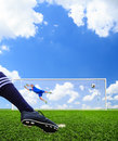Foot shooting soccer ball to goal penalty Royalty Free Stock Photography