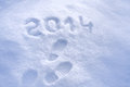Foot step prints in snow new year concept Royalty Free Stock Image