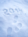 Foot step prints in snow new year concept Royalty Free Stock Images