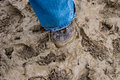 Foot stuck in mud single soft fibrous brown shoe blue denim jeans Royalty Free Stock Photography