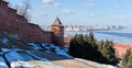 At the foot of the wall of nizhny novgorod kremlin and tower on a hillside with panoramic views to cape on opposite bank where Royalty Free Stock Photos