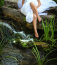 Foot in water in the forest .fairy tale Royalty Free Stock Image