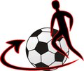 Footbal logo with a figure and arrow Stock Images