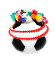 Footbal with a Polish garland and necklace Stock Image