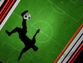 Footbal soccer football silhouette kicking a ball Royalty Free Stock Photo