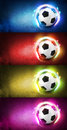 Football background collection set of bstract on green grunge and ball effects Royalty Free Stock Photography