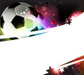 Football background soccer ball on a wavy abstract with sparks and stars Royalty Free Stock Photography