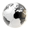 Football ball as an earth planet sphere isolated a glossy on white Royalty Free Stock Photos