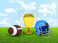 Football ball gold cup and helmet in the of field sports background Stock Photos