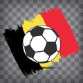 football ball icon on Belgian flag background from brush strokes Royalty Free Stock Photo