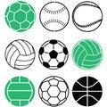 Football balls soccer balls sport ball clipart EPS
