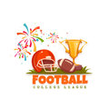 Football banner with ball and helmet. Vector illustration