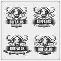 Football, baseball, hockey and cricket logos and labels. Sport club emblems with buffalo.