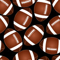 Football on black seamless pattern Royalty Free Stock Photo
