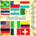 Football champions illustration with flags of world in a colorful lighting background Stock Photos