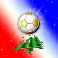 Football championship europe map big golden soccer ball shining above a big field shaped with the france flag colors background Royalty Free Stock Photo