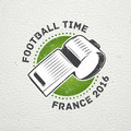 Football Championship of France. Soccer time. Detailed elements. Old retro vintage grunge. Scratched, damaged, dirty Royalty Free Stock Photo