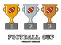 Football Cup Finalists Awards in Gold, Silver and Bronze Royalty Free Stock Photo