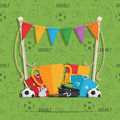 Football decoration background soccer with seamless pattern bunting and objects Stock Images