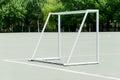 Football doorframe on sports field Stock Photo
