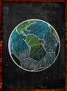 Football earth sketch blackboard soccer edition Royalty Free Stock Photo